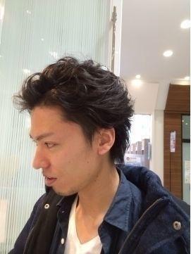 髪型 オールバック風パーマ