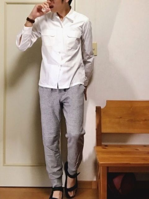 髪型 白シャツ